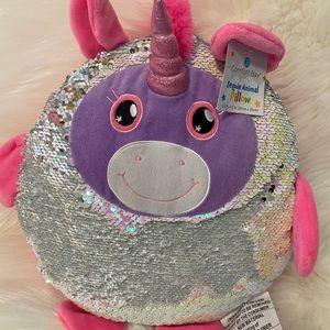 Sequin Unicorn Animal Pillow Pink Purple Girl
